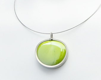 Green pendant necklace, Chartreuse Iridized glass marble pendant, green glass jewelry 015