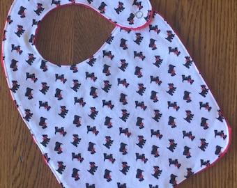 New...Scottie Dog Minky Baby/Toddler Bib - Last One