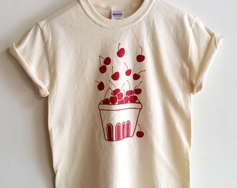 Cherry Screen Printed T Shirt, Clothing Gift, Foodie Gift, Gardening Gift
