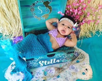 Custom Photography Prop-Treasure Chest - Photo prop- Keepsake Box - Memory Box -  Mermaid Chest - Pirate Chest - newborn photography