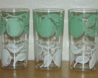 Set of three vintage Green and White Citrus Juice Glasses