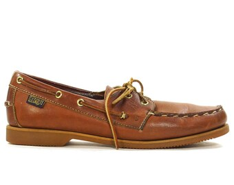 Brown Leather Topsiders / Classic Vintage Boat Deck Shoes / Loafers with Leather Lacing / Women's Size 9.5