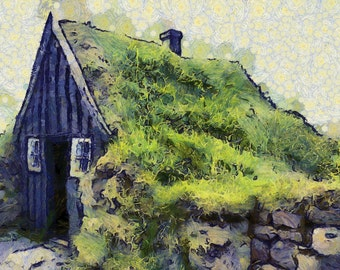 Icelandic Turf House - canvas print