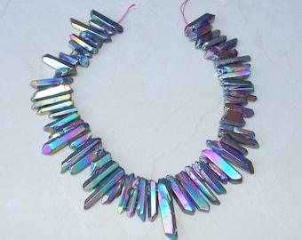 Polished Rainbow Titanium Quartz Points, Random Length, Crystal Points, Polished Crystal Quartz, - Full Quartz Strand - 15mm - 42mm - 8830