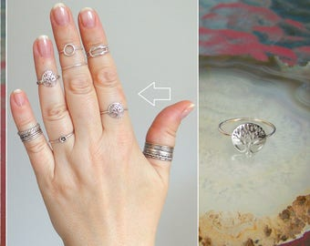 Tree of Life Ring 1mm shank Stacking Boho style ring Filigree Band Midi ring Sterling Silver Family tree Ring Wedding Gift ring Any sizes