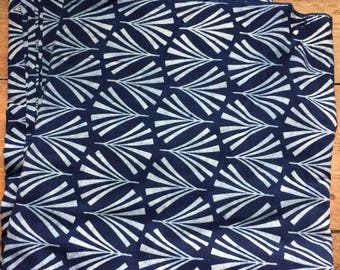Block printed Natural Indigo dyed cotton