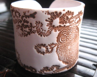 SALE Antiqued Ivory Owl Cuff Bracelet, Handmade Jewelry by theshagbag on Etsy