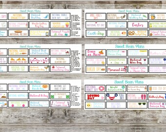 January - December Wacky Holidays Planner Stickers