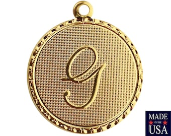 Gold Plated Letter G Initial Charm Drop with Loop (1) chr215G
