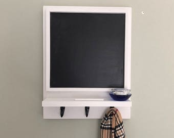 Blackboard, Chalkboard, Framed Chalk Board with Shelf and Hooks, Memo Board, Office Decor, Command Center, Entryway Decor