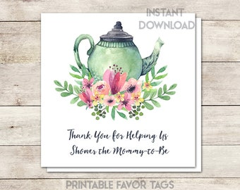 Baby Shower Favor Tags, Baby Shower Thank You, Shower Mommy to Be, Baby Shower Tea, Baby Shower Girl, Thank You Tags, Printable No. 1018