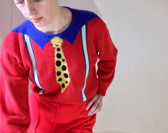 1970s intarsia bright red novelty jumper sweater Size 6/8/10