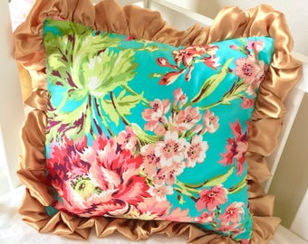 Gold Accent Pillow, Coral Floral, Floral Pillow Accent Pillow, Coral Sham, Girl's Pillows, Girl Bedding, Pillows for Girl Bedding