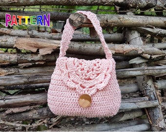Crochet bag pattern, crochet purse pattern, crochet girl purse pattern, crochet purse pattern, girl purse pattern, toddler purse pattern