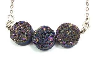 Rainbow Druzy Necklace- Sterling Silver Druzy Stone Necklace- Rainbow Titanium Quartz Crystal Necklace- Small Druzy Necklace- Druzy Gemstone