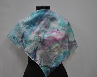 Vintage HANDMADE silk scarf , hand dyed scarf , hand rolled ....(682)