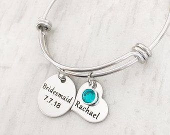 Bridesmaid Proposal Bracelet - Personalized Bridesmaid Gift- Bridesmaid Bracelet- Silver Bridesmaid Jewelry - Bridal Party Jewelry Gifts