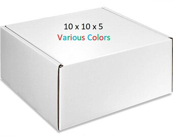 25 – Gloss Boxes 10x10x5 – Mailing Boxes of Various Colors - Cardboard Mailers – Packaging Supplies – Shipping Supplies