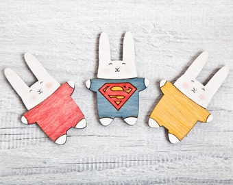 Fridge magnets, shopping list holder, Wooden Magnets. Set of 3. Superman Bunny Housewarming Gifts, Funny Magnets, Cute Kitchen Accessory