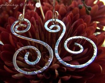 Hammered Sterling Silver Swirl Dangle Earrings