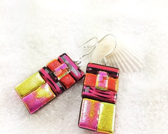 Dichroic fused glass earrings, Statement earrings, Dichroic jewelry, fused glass, dichroic, dichroic earrings, red jewelry, artisan earrings