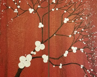 Japanese Inspired Red Orange Paintings White Flowers Nature Black Trees Modern Contemporary Landscape Artwork Made To Order