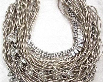 Chunky Rhinestone Wedding Necklace, Chunky Pearl Necklace, Bridal Bib Wedding Jewelry, Vintage Rhinestone Necklace Layered Bib Necklace