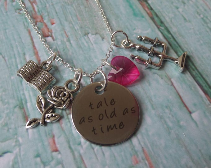 belle necklace, beauty necklace, tale as old, old as time, fan gift, beauty the beast, princess necklace, princess party, princess gift,