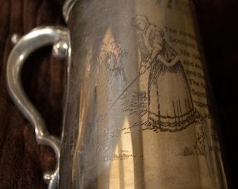 SALE - Pewter Tankard, Telling - The History of golf, drinking stein, Stein