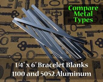 Metal Types Sampler - 5 of each 1100 and 5052 Aluminum 1/4 in. x 6 in. Bracelet Cuff Blanks - Metal Stamping Blanks - 14G Aluminum - Flat