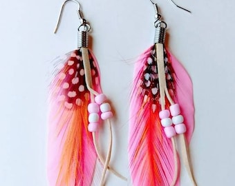 Light Pink feather earring. Native American jewelry. Indian american earring