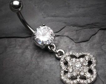 Grand Sparkle Quatrefoil Belly Button Ring