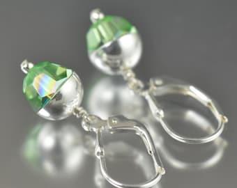 Peridot earrings August Birthstone earrings swarovski crystal earrings green earrings  gifts for her