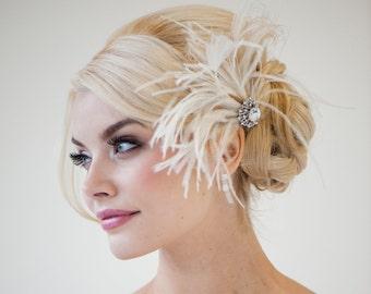 Bridal Fascinator, Wedding Fascinator, Feather Headpiece, Feather Fascinator, Bridal Feather Headpiece, Ivory Champagne Fascinator- GENA