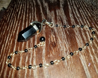 Black Obsidian Beaded Pendulum