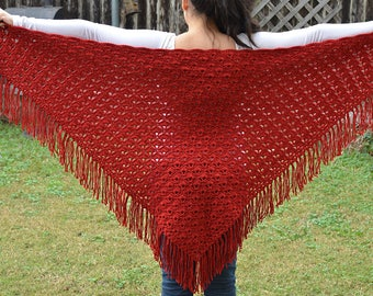 Hand knit red shawl with fringe
