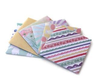 Assorted Handmade Envelopes, Mother's Day, Patterned Envelopes, Blank cards, 3x3, Set of 6