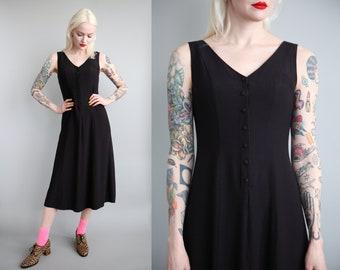 Vtg 90s Black Swing Button Front Market Dress sz S