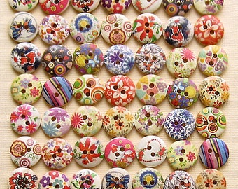 49 Painted Wood Buttons Floral Assortment 15mm BUT155