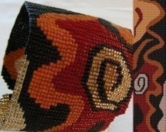Loom or 1 Drop Even Peyote Bead Pattern - Abstract Petroglyph Cuff Bracelet