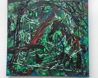 Green Rhythm - 12 x 12 abstract expressionist painting acrylic on stretched canvas