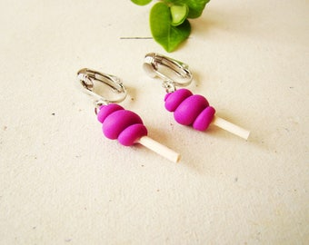 Pink earrings - clip on earrings cotton candy polymer clay kids - clips for little girls
