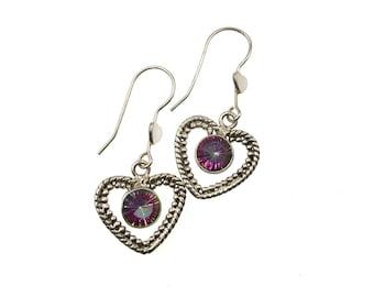 Rainbow Topaz Sterling Silver Earrings, Heart Earrings, Gemstone Earrings, Gift Idea, Gemstone Jewelry, Semi-Precious Stone Earrings