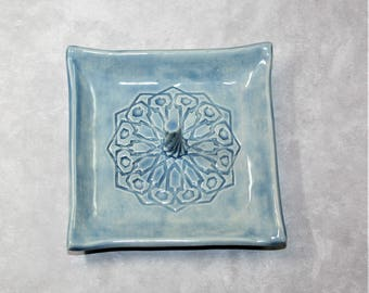 Blue Square Mandala ring dish with center spiral. For bridesmaid, wedding favor, ring holder, prom, bride