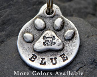 Skull Dog Collar Tag Dog Tag for Dog Pet Tag Dog ID Tag Handmade Personalized Paw Print with Skull