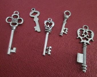 set of 5 large Silver 3.4 6.3 cm # d key charms