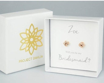 Bridesmaid Love Knot Stud Earrings Gift Sets, Tie the Knot jewelry,  Rose Gold Knot Earrings, Bridesmaid Gift, Bridesmaid Jewelry PD