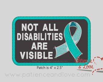 "1 Patch, Sew-on, 4 x 2.5"", Not all disabilities are visible ribbon"