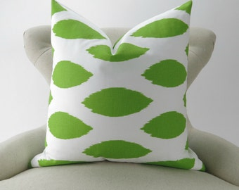 Lime Green Pillow Cover, Throw Pillow, Green White Ikat Cushion Cover, Euro Sham -MANY SIZES- Chipper Chartreuse Premier Prints