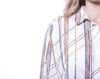 Vtg 70s Striped beige minimalist long sleeves shirt sz XS - S